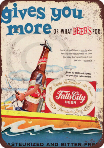 Falls City Beer and Boating vintage look reproduction metal sign 8 x 12