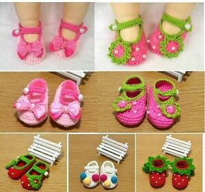Newborn baby Infant Girls Crochet Knit Socks Crib Shoes size:0-12 ...