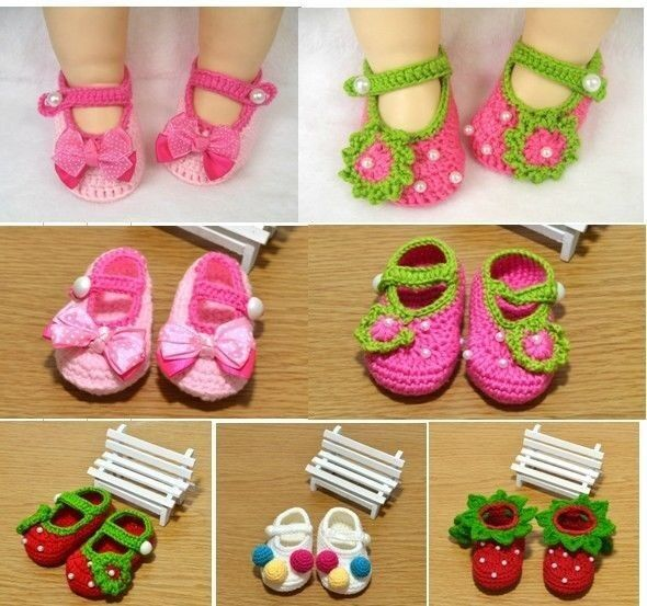 Newborn baby Infant Girls Crochet  Knit  Socks Crib  Shoes size:0-12 months