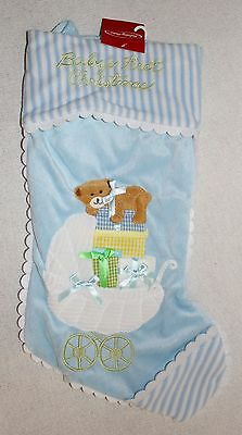 Baby's First Christmas Stocking Light Blue with Baby Carriage