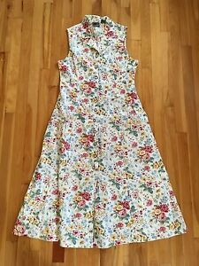 4d3ae495a LIZ CLAIBORNE Lizwear Vintage FLORAL Maxi Button Up Sleeveless Dress ...