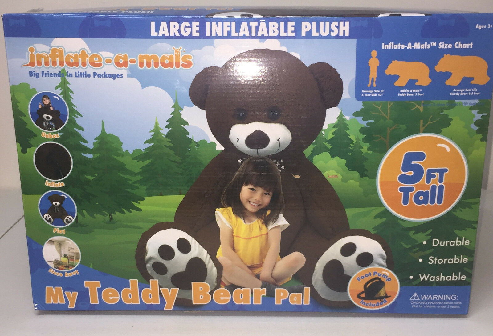 NIB Giant Plush Inflatable Teddy Bear Pals Animal Toy Blow Up Inflate A Mals