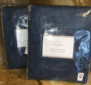 New-2-Pottery-Barn-Emery-Grommet-Blackout-Drapes-50x96-Midnight-Navy-Blue