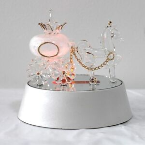NEW-HAND-BLOWN-LIGHT-UP-LED-HORSE-PUMPKIN-CARRIAGE-ORNAMENT-GLS100-WHITE