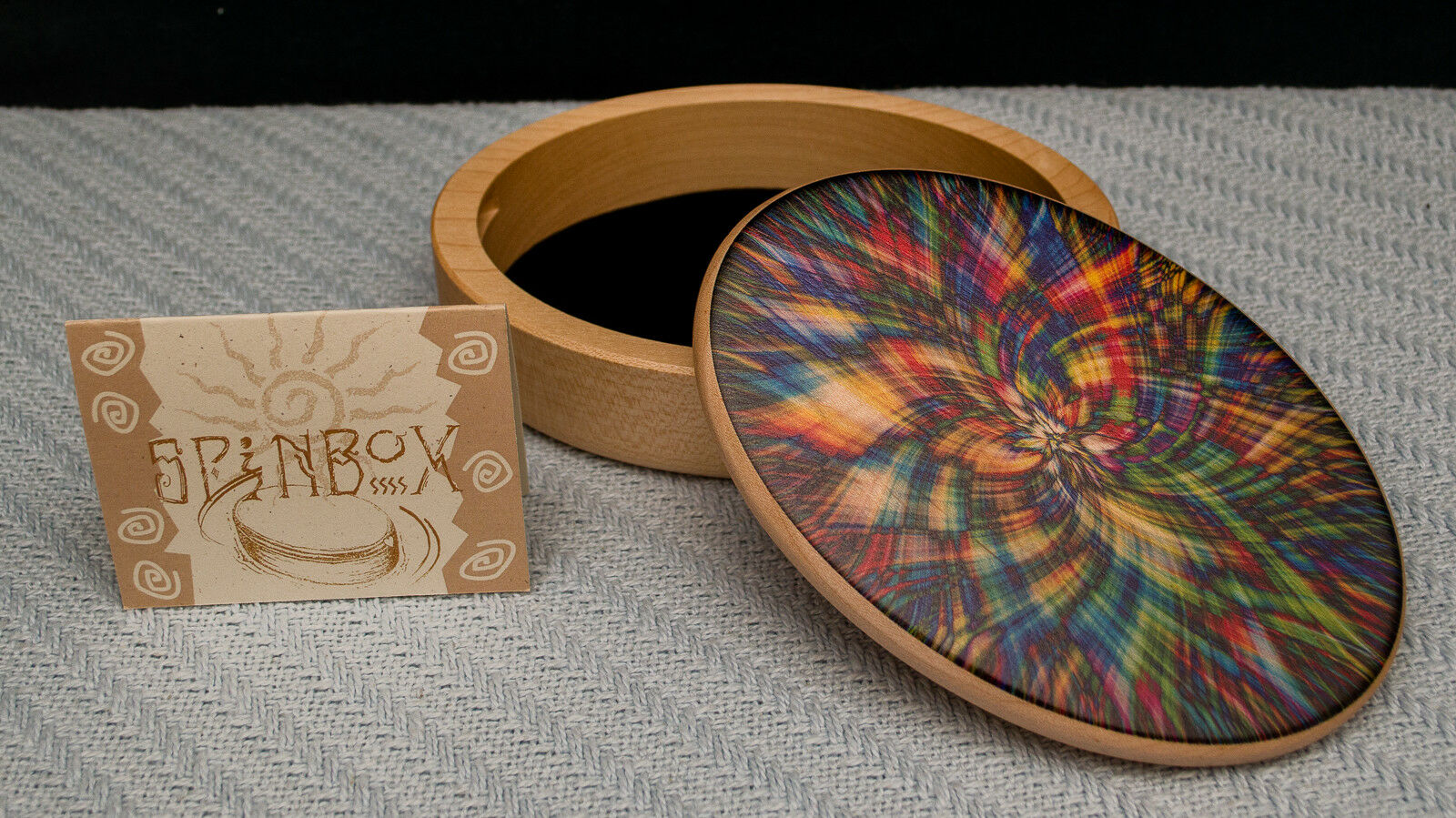 Made-in-the-USA MapleWood Spin Puzzle Box w  Kaleidoscope color Art by Heartwood