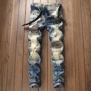 Para Hombre Pantalones De Mezclilla Pantalones Vaqueros Destruidos Rasgada Parche Biker Punk Rock Jeans Ebay