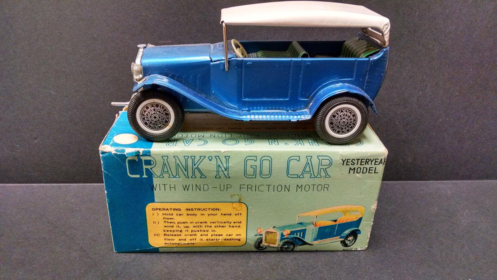 Vintage Japan Yesteryear 1920's Sedan Crank N Go  friction powered with box