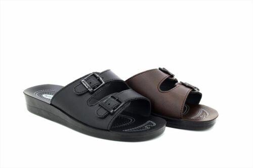 Aerosoft Ladies Orthopedic Twin Buckle Comfort Mule Sandals New