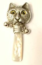 Sterling Silver Cat Baby Rattle
