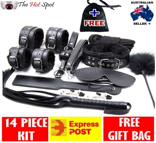 BLACK SLAP TICKLE Leather Bondage Kit 14PC handcuffs cuffs collar whip restraint