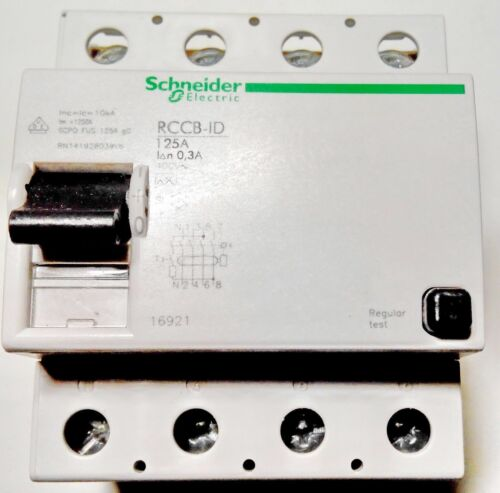 Schneider Electric 16921 Residual Current Breaker RCCB ID 4P 0.3А 125А