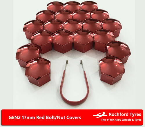 Red Wheel Bolt Nut Covers GEN2 17mm For Fiat Grande Punto Abarth 08-10