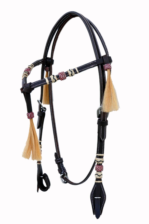 Western Dark Oil Leather Futurity Style Rawhide Braided Headstall  tassel