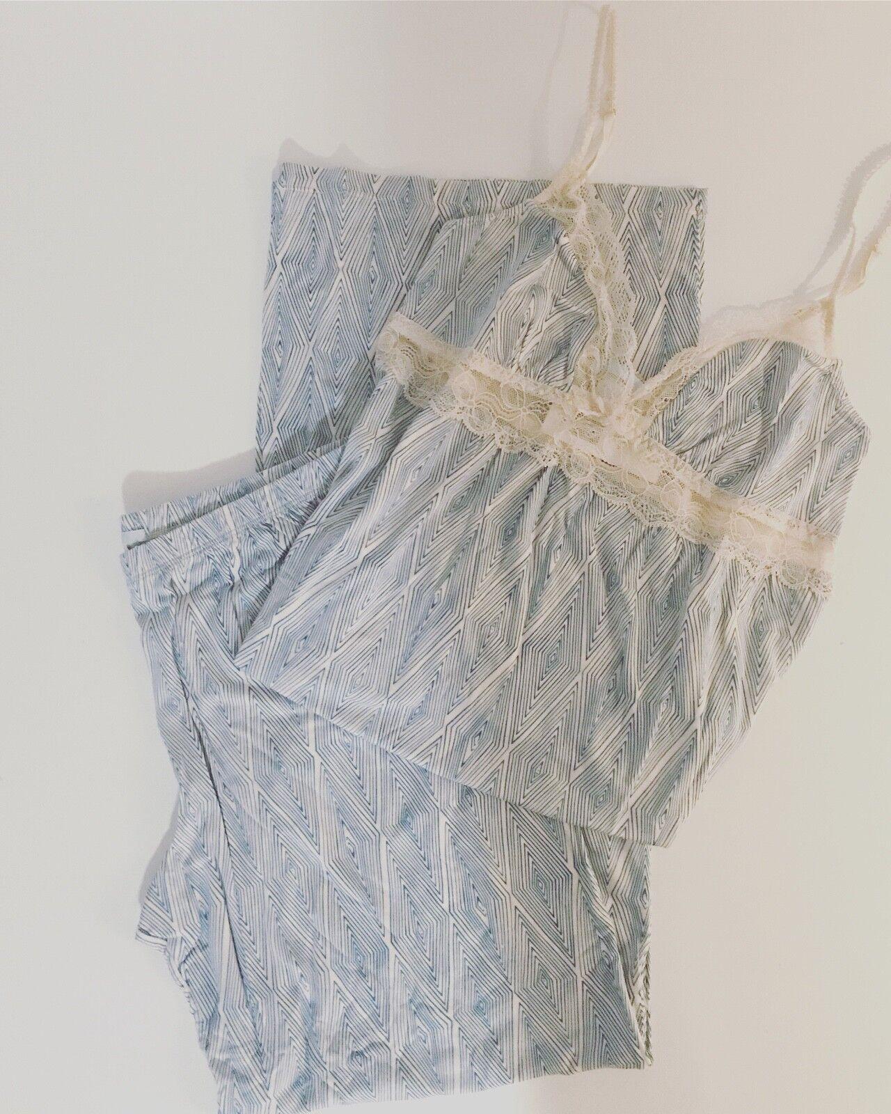 Eberjey lace bluee pant pajama set sale Large
