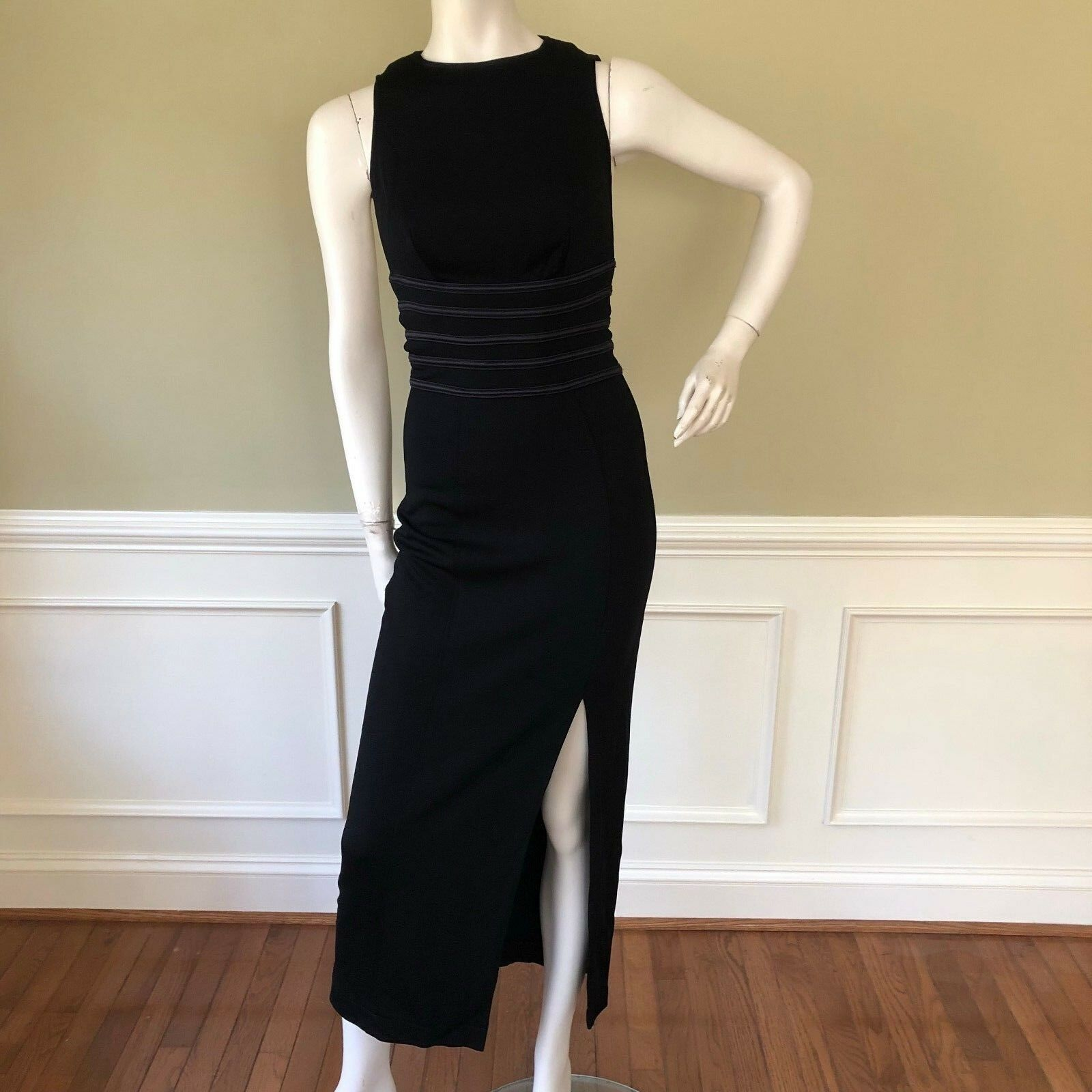 Vintage Tadashi damen Dress schwarz Side Slit Bodycon Formal Long Größe S