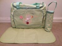 New Unisex Baby Nappy & Accessories Bag, Waterproof Changing Mat & Bottle Holder