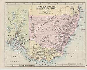 Map South East Australia.C1890 Two Antique Maps New South Wales South East Australia Ebay