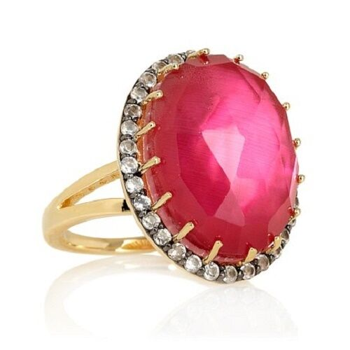 TREASURES OF INDIA CHALCEDONY AND MULTI-GEMSTONE VERMEIL RING SIZE 6 HSN  199.90