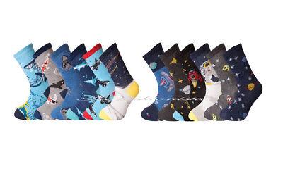 6 Pair Kids Girls Boys Sea Life Socks Space Galaxy Novelty Print All Size Novel (In) Design;