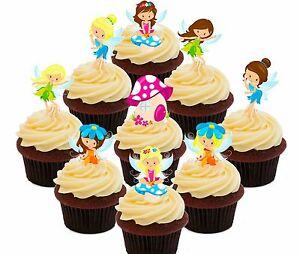 Edible Cake Decorations Fairies : Fairy Party 36 Edible Cupcake Toppers Cake Bun Decorations ...