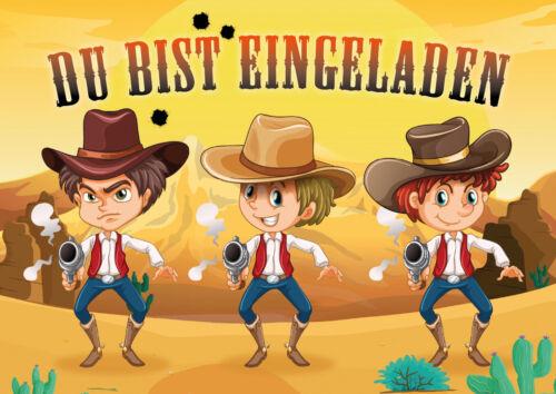 Cowboy Einladungskarten für Kindergeburtstag / Western Geburtstag Jungen