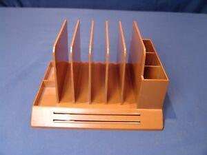 MID-CENTURY-1970s-MAX-KLEIN-Tan-Brown-Plastic-Desk-File-and-Organizer-V-87