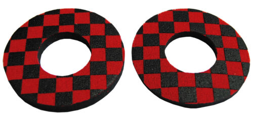 CHECKERBOARD RED and BLACK Flite old school BMX bicycle grip foam donuts