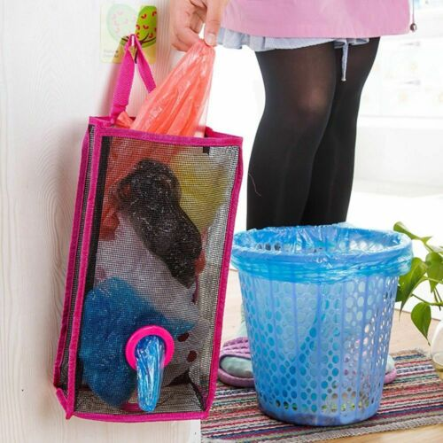 Foldable Practical Garbage Bag Storage  Plastic Hanging Holder Breathable Mesh