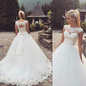 Details About Vintage New A Line Lace Wedding Dresses Tulle Bridal Gowns Corset Back With Bow