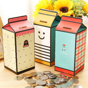 Details About Diy Piggy Bank Money Box Milk Box Shape Paper Saving Box Storing Coin Box Swzx