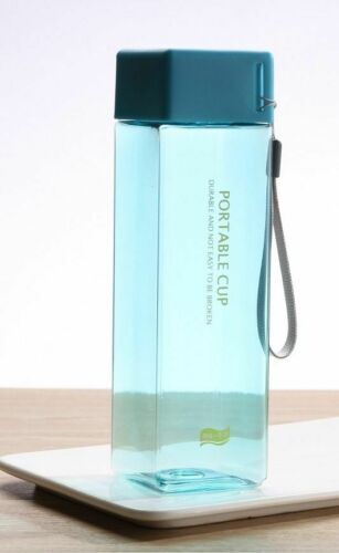 Fruit Water Cup 500ml Square Tea Milk Water Bottles Drink With Rope Transparent