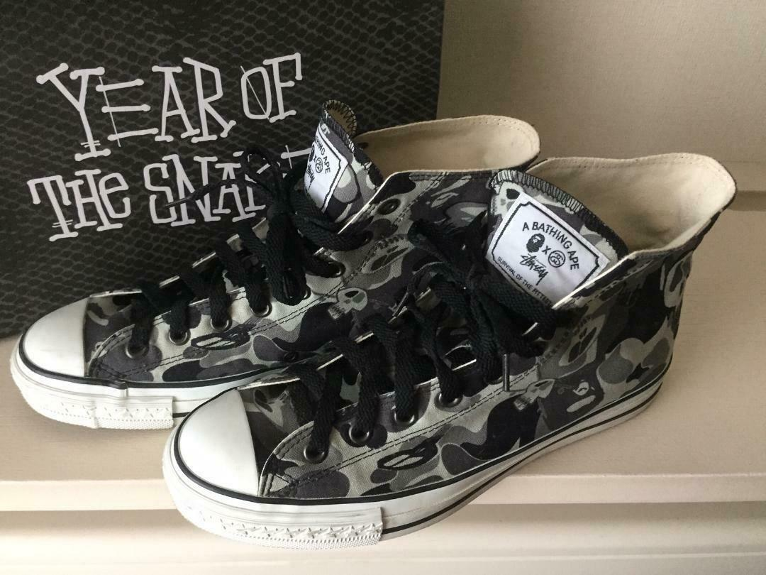 Bathing Ape Bape Stussy Camo Bapesta Cut baskets Taille 9 US