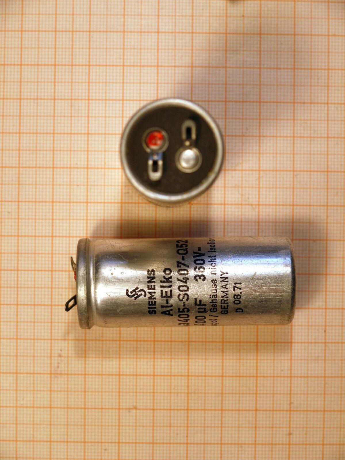 SIEMENS 2 Stück 360VDC Blitzlicht Kondensator 400µF