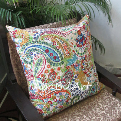 New Large 24X24 Indian Pillow Cushion Cover Bohemian Floral Kantha Stitch Throw