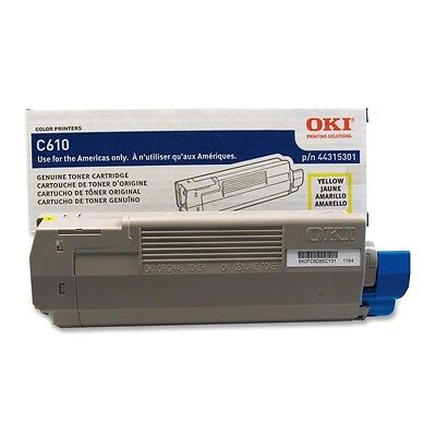 Genuine Oki 44315301 LED Yellow Toner Cartridge 6000 Page for Oki C610 Series