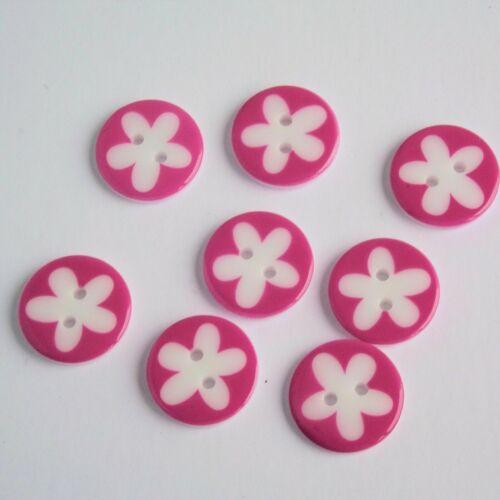 2 hole buttons g445126 7 Dark Pink Flower Buttons Round Button 17mm Button