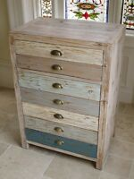 Shabby Chic Wooden Cupboard & Draw In A Painted Washed Finish 3038