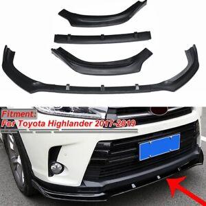 Matte-Black-Front-Bumper-Lip-Spoiler-Chin-Splitter-For-Toyota-Highlander-2017-19