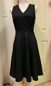 Excellent-White-House-Black-Market-Black-Dress-Black-A-Line-Fit-Flare-Women-4