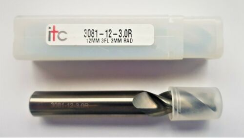 ITC 12mm 3 Flute Square End Mill with Radius for Aluminium 3081-12-3.0R