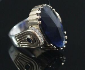 925-Sterling-Silver-Handmade-Authentic-Turkish-Sapphire-Ladies-Ring-Size-6-9