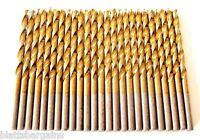 25 Hitachi Titanium 9/64 High Speed Steel Drill Bits Metal Gold Hss