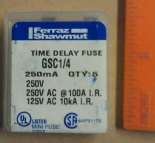 Gould Ferraz Shawmut GSC1//4 5TT 250mA 125V 250V Time Delay Fuses  5 each