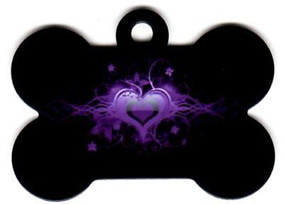 Custom Pet Tag ID Black Bone w/ Purple Heart FAST SSH! | eBay