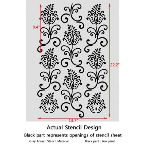 Wall Stencil Pattern Small Wild flowers Damask Allover Stencil for Wall Decor
