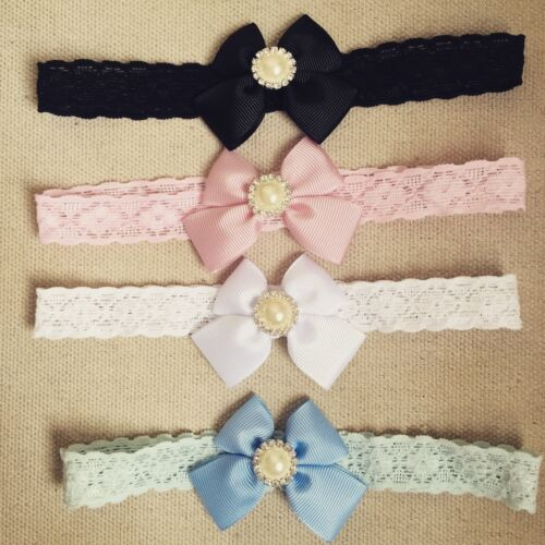 Butterfly Bow pearl Lace Band Newborn Toddler Baby Headbands christening lot