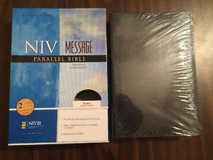 Details about NIV 1984 / The Message Parallel Bible - Black Bonded Leather  - OOP 84 - Sealed