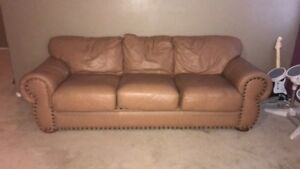 Image Is Loading Light Brown Leather Couch Used But In Good