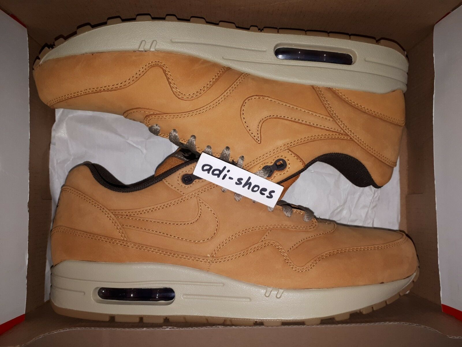 NIKE AIR MAX 1 LTR LEATHER PREMIUM BRONZE WHEAT US 7 9,5 10 deluxe 705282-700 90