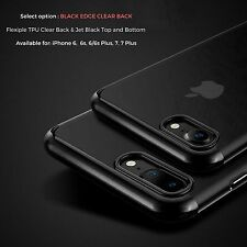 JET BLACK Case For Apple iPhone 7 6 6s Plus 5c SE 5 5S 4 4S Gel Silicone Cover